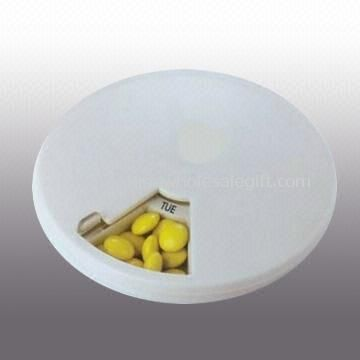 Round Seven-day Pocket Pill Box with Rotating Top