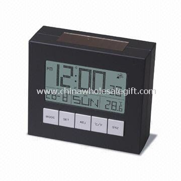 Solar Alarm Clock with LCD Display with Calendar and Thermometer