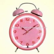 Metal Alarm Desk Clock with Twin Bells in Lovely Pink images