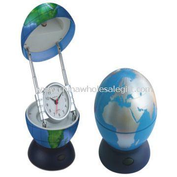 Globe reading lamp with alarm clock