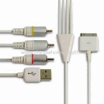 AV Cable for iPad/iPhone 4 Supports Audio and Video Output in Clear Video Signal