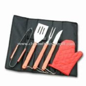 5-piece Barbecue Tool Set with Wood Handle and Black Apron images