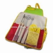 BBQ Set with Apron, Made of Stainless Steel, Includes Fork, Spatula, Tong and A Glove images