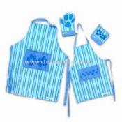 Embroidered Kitchen Set Made of Cotton Includes Apron, Bread Box and Pot Holder images