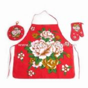 Four-piece Kitchen Set Made of 100% Cotton Includes Apron Towel Glove and Pot Holder images