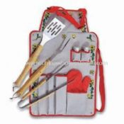 Seven-piece Barbecue Tool Set with Printed Apron Includes Pepper Shakers images