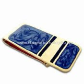 Brass Money Clip with Antique Metal Coating and Silkscreen Printing images