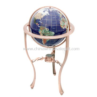 Blue Lapis Gemstone Oceans with 3-legged Bronze Floor Stand Gemstone Globe