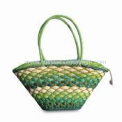 Beach Straw Bag Made of Corn Husk with Paper Straw Handles images