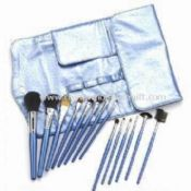 15-Piece Professional Cosmetic Brush Set with Sky Blue PVC Bag images