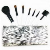 Cosmetic Brush Set with Birch Wood Handle and Artificial Leather Bag images