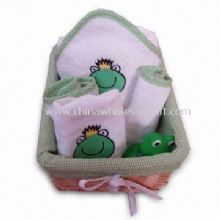 Baby Gift Set with Embroidered Design and Willow Basket Package Made of 100% Cotton Terry images