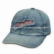 6-panel Low-profile Denim Cap in Washed Denim with Brass Buckle and Grommet Closure images