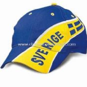 Light-brushed Cotton Twill Sports Cap with Printed Design, Embroidered Flag on Front and Peak Panel images