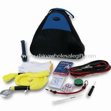 Car Tool Kit, Includes Fiber Bag, Cable Booster, Flashlight, Cotton Gloves, Safety Hammer and Wrench