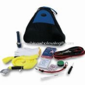 Car Tool Kit, Includes Fiber Bag, Cable Booster, Flashlight, Cotton Gloves, Safety Hammer and Wrench images