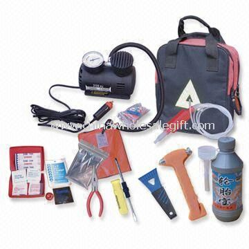 Automobile Repair Tool Kit with Tire Tools, Tool Kit Bag, Emergency Torch, Jumper Cable, Tow Strap
