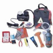 Automobile Repair Tool Kit with Tire Tools, Tool Kit Bag, Emergency Torch, Jumper Cable, Tow Strap images