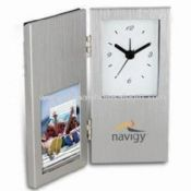 24-hour Rush Cardin Clock with Photo Frame and Hinged Brushed Finish images