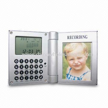 Recording Photo Frame Clock with Eight-digit Calculator and LCD Display