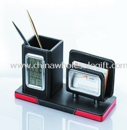 leather pen holder with name card holder