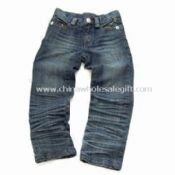 Blue Relaxed Unisex Denim Jeans with Zipper Back Pockets and 3 Inches Turn-up images