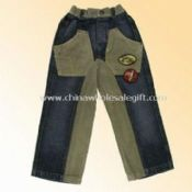 Front Pockets and Inseam Childrens Denim Jeans with Corduroy in Waist images