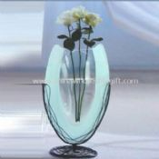 Frosted Glass Vase Includes Metal Holder and Base images