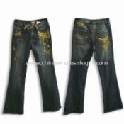 Womens Denim Pant Made of 97% Cotton and 3% Spandex images