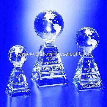 Globe de cristal trophées avec le haut transparent, artisanat et Design exquis