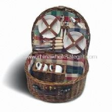 Wicker Picnic Basket Composed of Metal Spoon, Basket and Ceramic Cups images