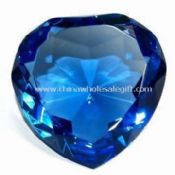 Blue Optic Crystal Heart Diamond Paperweight Decoration images