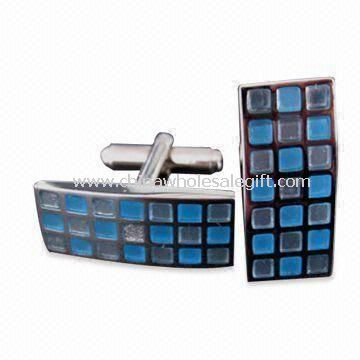 Cufflinks with Silver Plating Made of Brass