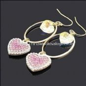 Heart-shaped Drop Earrings Decorated with Rhinestone and Crystal images