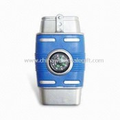 Windproof Lighters, Metal Material with Blue Plastics, Includes Compass Function images
