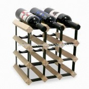 Wine Rack, 3 x 10 Specification, Made of Wood and Steel, Shelf Outside Can be Moved images