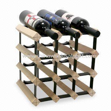 Stojan na víno, 3 x 10 specifikace, vyrobené ze dřeva a oceli, police Outside lze přesunout