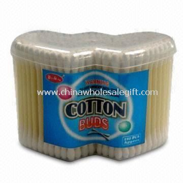 Plastic Stick Cotton Buds with 300 Pieces, Packed in Double Heart-shaped Box