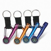 Carabiner Keychain with Compass and Light, Customers Promotional Logos are Accepted for Printing images