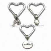 Heart-shaped Carabiner/Metal Keychain for Wedding Theme, Various Designs are Available images