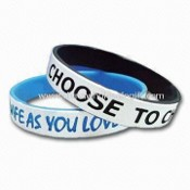 Silicone/Rubber/ Bracelet/Wristband/Bangle Ideal for Promotion, Customer Logo is Welcome images