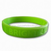 Yellow Green Silicone Bracelet/Bangle/Wristband with Embossed or Debossed Logos images