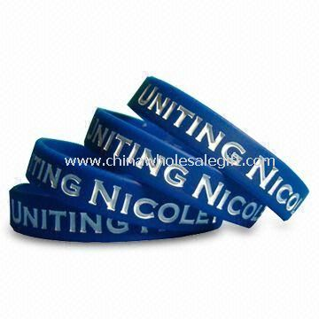 Silicone Bracelet/Wristband, Logo Can be Printed, Embossed or Debossed, with Various Colors