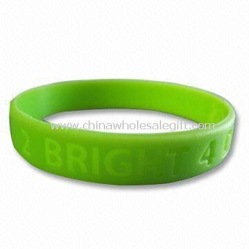Yellow Green Silicone Bracelet/Bangle/Wristband with Embossed or Debossed Logos