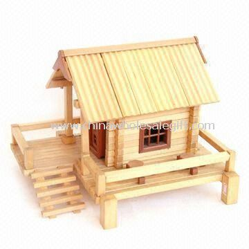 Print wooden doll house composed of door windows for Mini wooden house