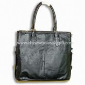 Leather Handbag/Shoulder Bag with Double Handle and Main Pocket images