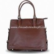 Leather Handbag with Long Strap for Shoulder and Short for Hand images