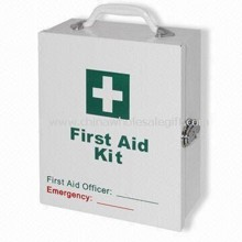 Metal First Aid Box with Antirust Powder Coating and Portable Handle Design images
