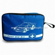 Auto First-aid Kit/Bag, Alcohol Pad, Scissors, Bandage & Blood Stopper Raincoat & Emergency Blanket images