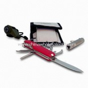 Essential Survival Kit with Classic Wine Red Color Army Knife and Small LED Flashlight images
